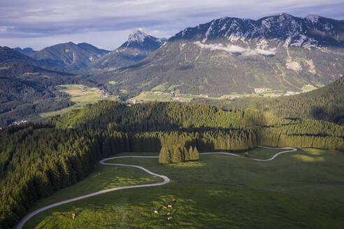 Austria, Tyrol, Eben am Achensee, Aerial view of winding road and green alpine forest in summer - DHEF00041