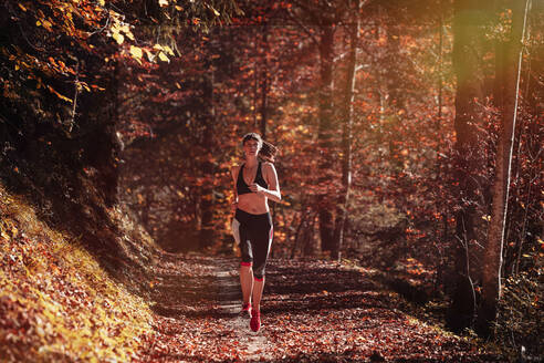 Woman jogging in autumn forest - DHEF00086
