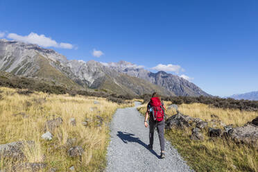 New Zealand, Oceania, South Island, Canterbury, Ben Ohau, Southern Alps (New Zealand Alps), Mount Cook National Park, Tasman Glacier Viewpoint, Rear view of woman hiking - FOF11627