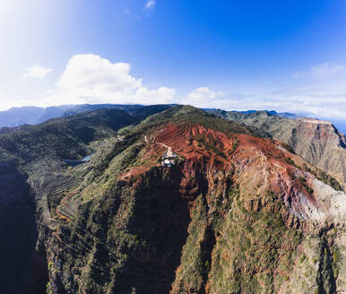 Spain, Canary Islands, Agulo, Aerial view of Mirador de Abrante observation point - SIEF09492