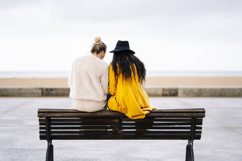 Rear view of girlfriends sitting on a bench using mobile phone - DGOF00160