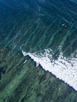 Aerial view of surfers in the ocean - CAVF74090