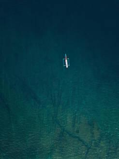 Aerial view of banca boat in the Indian Ocean - CAVF74114