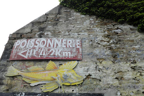 France, Brittany, Audierne, Hand painted fish shop sign with fish on old house wall - GISF00508
