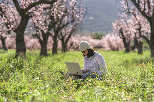 Teenage girl sitting on a meadow in among blossoming almond trees using laptop - DLTSF00477