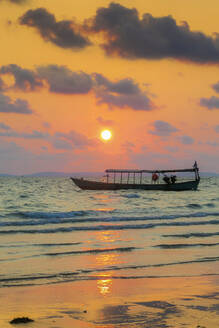 Fishing boat moored off beach south of the city at sunset, Otres Beach, Sihanoukville, Cambodia, Indochina, Southeast Asia, Asia - RHPLF13715