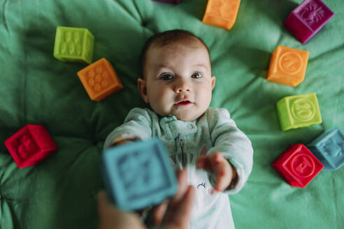 Portrait of baby girl lying on green mat playing with rubber toys - GEMF03419