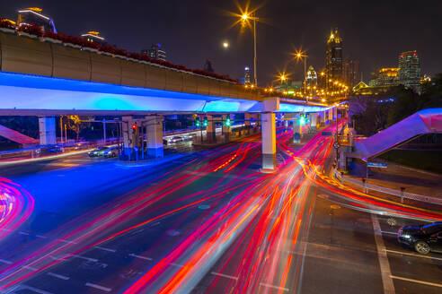 Luban Road Motorway Interchange at night, Luwan, Shanghai, China, Asia - RHPLF13813