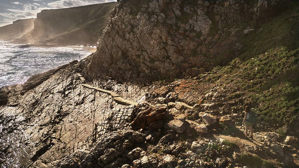 South Africa, Robberg Nature Reserve, Aerial view of rocky coast - VEGF01545
