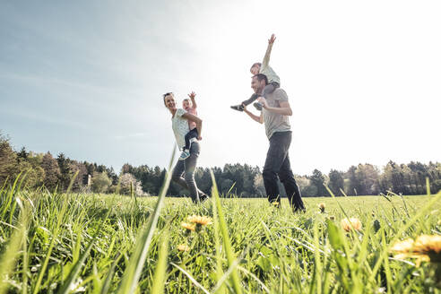 Happy family with two kids on a meadow in spring - WFF00274