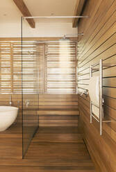 Wood surrounding glass shower in modern, luxury home showcase interior bathroom - HOXF04905