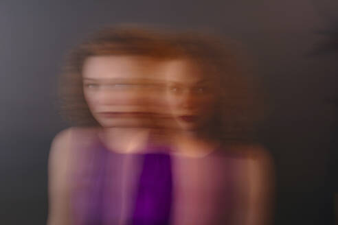 Portrait of red-haired woman, blurred, double - OGF00120