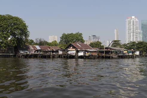 Huts at Chao Phraya river, high-rise buildings in the background, Bangkok, Thailand - CHPF00639