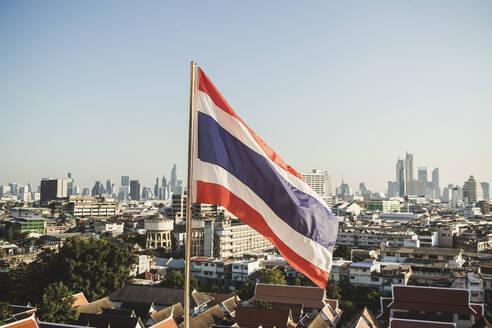 Thai flag and view to the city, Bangkok, Thailand - CHPF00642