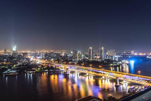 Cityview at night, Rama III Bridge, Bangkok, Thailand - CHPF00648