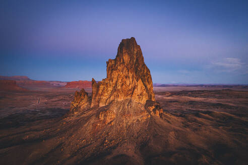 Aerial view of Agathla Peak in the morning from above, Arizona - CAVF75260