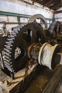 Spain, Granada, Salobrena, Interior of abandoned sugar factory - LJF01364