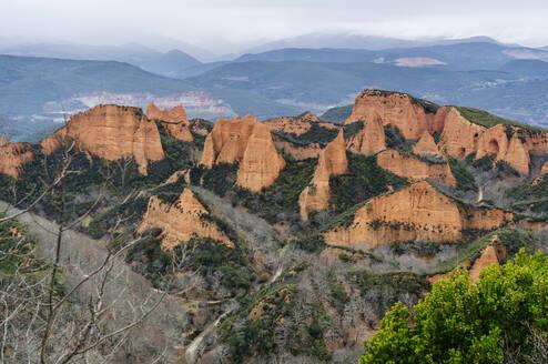 View to Mina de Oro Romana, former gold mine, Las Medulas, Castile and Leon, Spain - DGOF00527