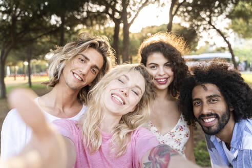 Portrait of happy friends outdoors - AFVF05471
