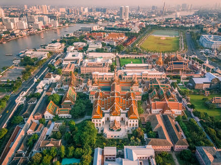 Aerial view of The Grand Palace with the Chao Phraya river in the background, Phra Nakhon, Bangkok, Thailand - AAEF06697