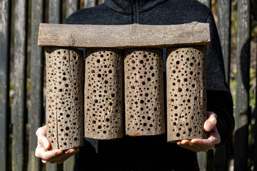Man holding self-built wooden bee hotel - NDF01028