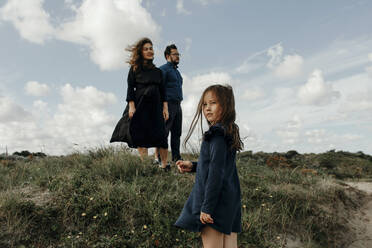 Couple and little daughter in the dunes, The Hague, Netherlands - OGF00175