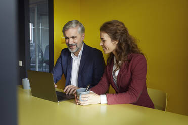 Businessman and businesswoman working together on laptop in office cubicle - RBF07100
