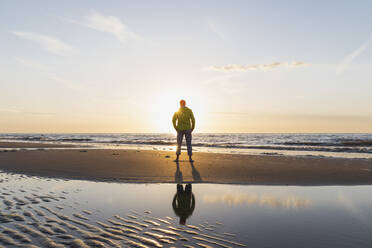 Full length of senior man standing on shore at beach during sunset, North Sea Coast, Flanders, Belgium - GWF06540