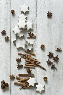 Star shaped cookies, cinnamon sticks, pine cones, cookie cutters and star anise - ASF06601