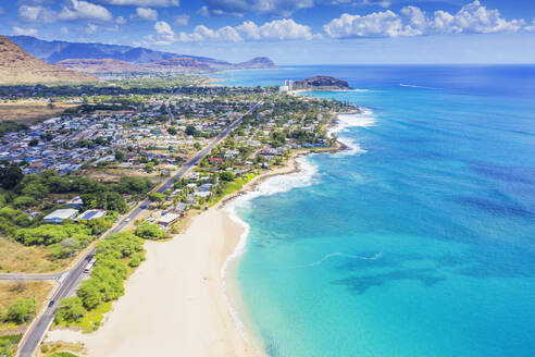 Aerial view by drone of Makaha beach, Oahu Island, Hawaii, United States of America, North America - RHPLF14138