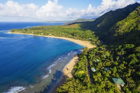 Aerial view by drone of Tunnels Beach, Haena State Park, Kauai Island, Hawaii, United States of America, North America - RHPLF14405