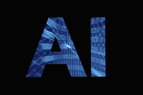 AI artificial intelligence lettering on black background - HOXF05302