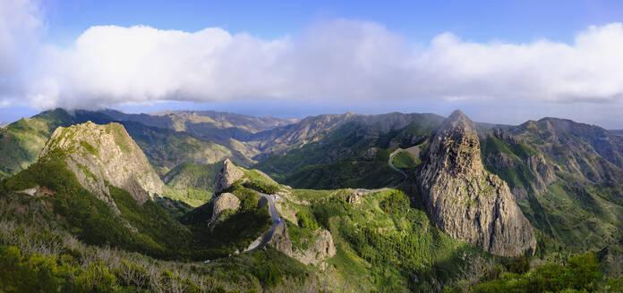 Spain, Province of Santa Cruz de Tenerife, Scenic panorama of Roque de Agando, Roque de Ojila and Roque de la Zarcita rock formations - SIEF09667
