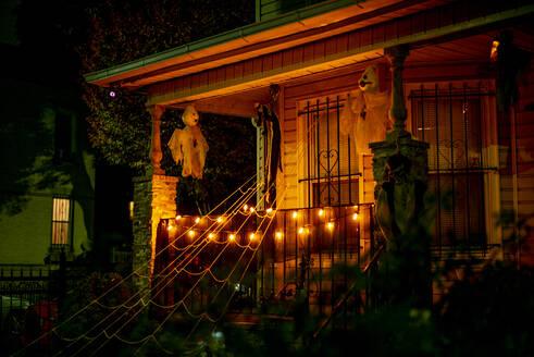 USA, New York City, Halloween decoration on a patio - OCMF01119