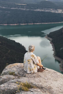 Hiker on viewpoint, Sau Reservoir, Catalonia, Spain - AMAF00008