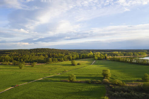 Germany, Brandenburg, Drone view of green countryside landscape - ASCF01220