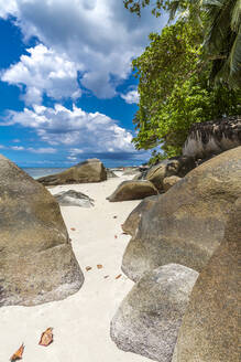 Seychelles, Mahe, Granite rocks at Beau Vallon Beach in summer - MABF00566