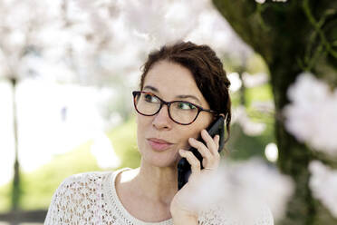 Portrait of mature woman on the phone at springtime - FLLF00443
