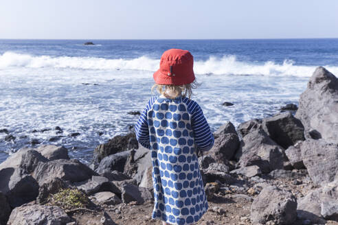 Back view of little girl standing at water's edge looking at the sea, La Gomera, Canary Islands, Spain - IHF00304