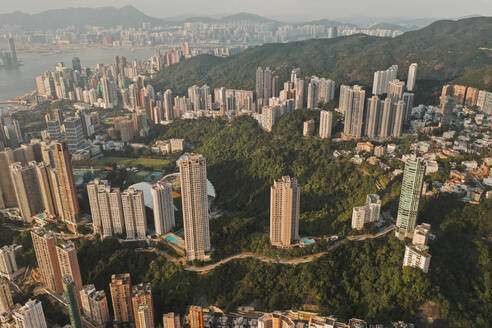 Aerial view of Hong Kong's skyline with colourful highrising apartments, Hong Kong. - AAEF07747