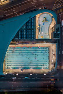 Aerial View of the Kennedy Town Swimming Pool in Hong Kong - AAEF07972