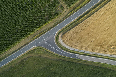 Germany, Bavaria, Drone view of country road cutting through green and yellow countryside fields in summer - RUEF02716