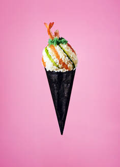 Sushi ice cream cone with rice, wasabi, salmon and prawn - KSWF02166
