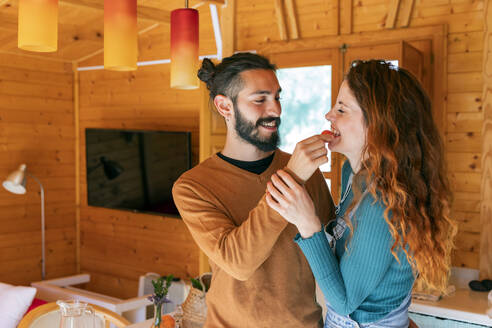 Happy young couple playing with a cherry tomato in a wooden cabin - VSMF00009
