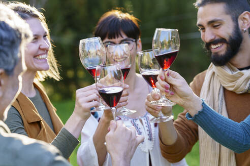 Group of friends toasting with red wine on their getaway in the countryside - VSMF00156