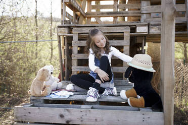 Girl playing with her teddy bears at tree house - HMEF00878