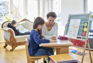 Mother home schooling her daughter - DIKF00430