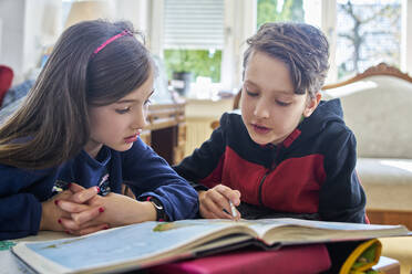 Brother and sister learing at home during school closure - DIKF00433
