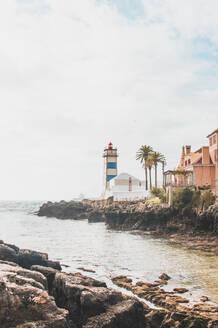 Portugal, Lisbon District, Cascais,Rocky coastline and Santa Marta Lighthouse - FVSF00122