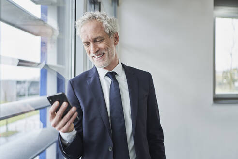 Businessman using cell phone at the window - RORF02131